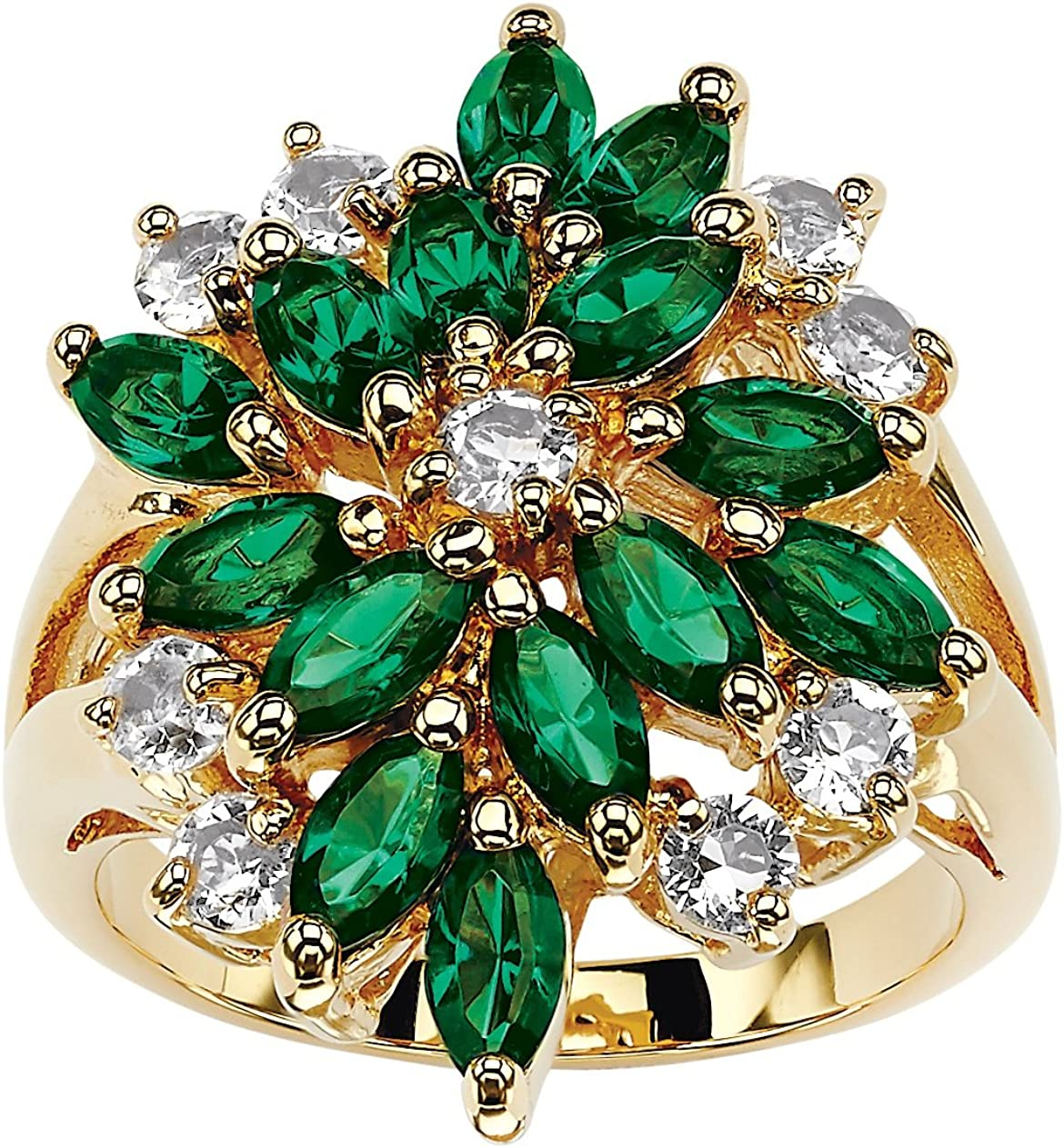 Palm Beach Jewelry 18K Yellow Gold Plated Marquise Shaped Green Red or Blue and White Crystal Ring.