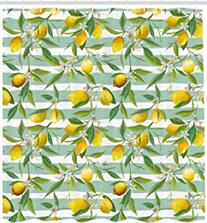 """Ambesonne Nature Shower Curtain, Blooming Lemon Tree on Striped Paintbrush Background Evergreen Art, Cloth Fabric Bathroom Decor Set with Hooks, 84"""" Extra Long, Fern Green"""
