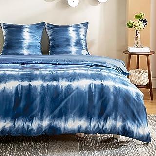 Bedsure Housse de Couette 220x240 Bleu - Parure de lit Adulte avec Fermeture Éclair, Parure Housse Couette 2 persnnes Impr...