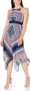 Sandra Darren womens 1 PC Sleeveless Halter Neck Hanky Hem Chiffon Dress Casual Dress