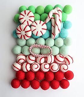 Mini Felt Factory | Christmas Felt Ball Ornament Garland DIY Bunting Banner Decor | Red White Green Wool Poms Winter Seaso...