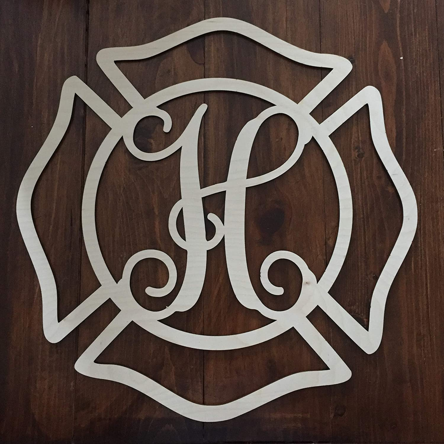 Unfinished Wood Fireman Monogram Hanger Weekly update Wall - Popular brand in the world
