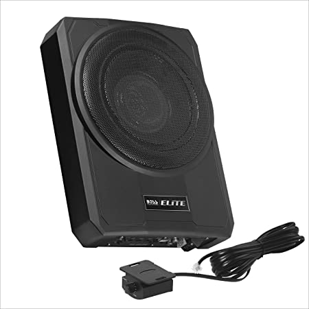 BOSS Audio Systems Elite SLIM10 Amplified Car Subwoofer - Low Profile, 10 Inch Subwoofer, Remote Subwoofer Control, for Vehicles Needing Bass with Limited Space