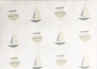 Little Dreamers Bedding 4 Piece Cotton Full Size Double Bed Sheet Set Beige Tan Gray Sail Boats Nautical Theme on White