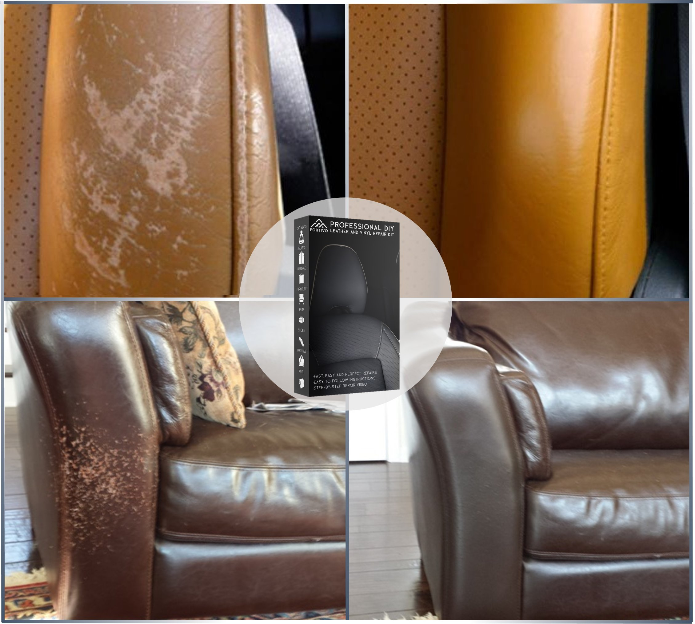 Leather and Vinyl Repair Kit - Furniture, Couch, Car Seats, Sofa