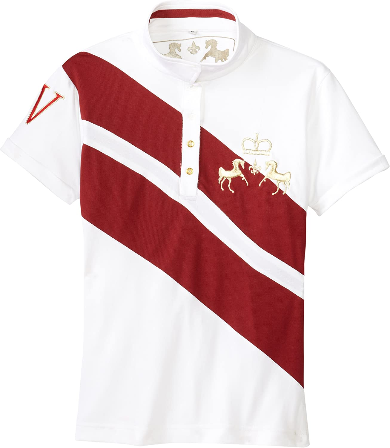 Equine Couture Women's XPress Short Sleeve Polo, White EC Red, 3X