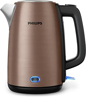 Philips Viva Collection Kettle with Micro-mesh filter, 1.7L 2200W Copper metal, Spring lid