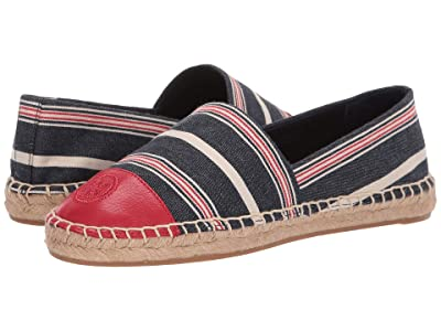 Tory Burch Color Block Flat Espadrille (Striped Multi Canvas/Ruby Red) Women