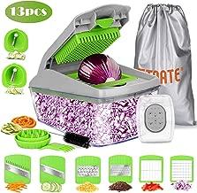 FITNATE Update version 13 in 1 Vegetable&Food Chopper Slicer Dicer, Onion Chopper, Vegetable Spiralizer Mandoline Slicer Dicer Pro, Veggie Shredder Cutter, with Brush &Organizer Bag, Dishwasher Safe