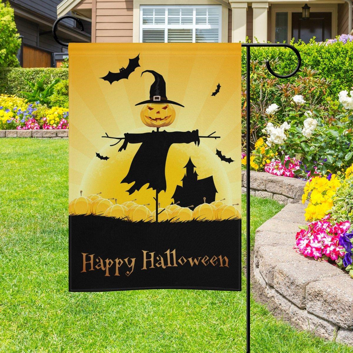 Doble cara Halloween Día espantapájaros calabazas y murciélagos poliéster casa jardín bandera Banner 12 x 18/28 x 40 pulgadas para todo tipo de clima para boda fiesta: Amazon.es: Jardín
