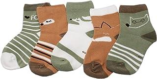 Calcetines tobilleros para niños y niñas con diseño de zorro verde y marrón