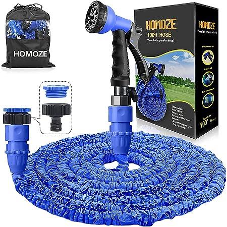 HOMOZE Hose Pipes Expandable 100ft Expanding Garden Hose with 8 Function Spray Gun Flexible Expanding Water Hose Free Garden Storage