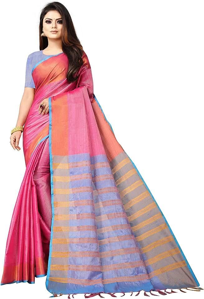 Indian Dhruvi Trendz Soft Cotton & Silk Saree For Women Half Sarees Under 349 2020 Beautiful For Women saree free size with blous... Saree