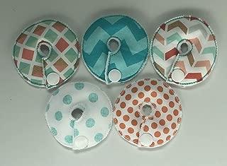 Cutie Button Pads G/j Tube Pad 5 Pack( Aqua/ peach)