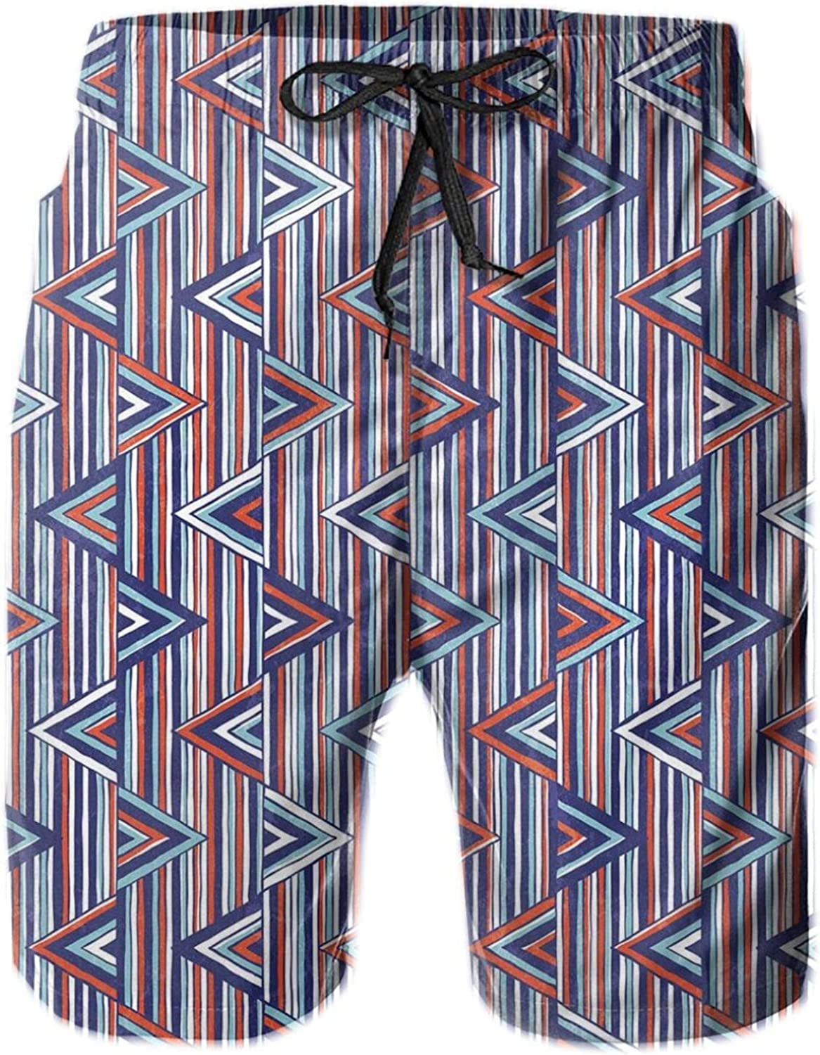 Striped African Abstract Ethnic Pattern with Creative Triangles Art Mens Swim Trucks Shorts with Mesh Lining,M