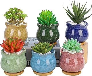 陶器製多肉植物寄せ植え鉢、水切り付きプランター、付属のソーサー -植物は含まれません (アイスクラックル)