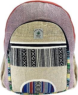 Mochila orgánica 100%. De Fibra de cáñamo y algodón a Rayas Compartimento para Ordenador portátil, Hecho en Nepal.art1