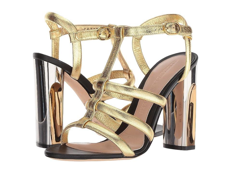 Alexander McQueen Sculpted Heel Sandal (Gold/Gold/Gold) High Heels