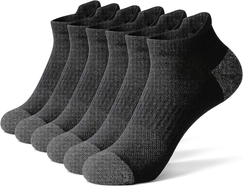 GLENMEARL Athletic Running Socks Ankle Sport Cushioned Socks Black White Gray