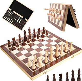 Magnetic Wooden Chess Set, 15 Inches Wooden Chess Board Game Set Folding Board, Handmade Portable Travel Chess Game Board ...