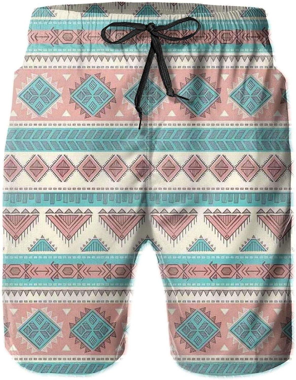 African Vintage Design Native Ethnic Style Artsy Geometric Triangles Print Mens Swim Shorts Casual Workout Short Pants Drawstring Beach Shorts,XXL