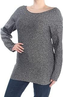 Bar III Womens Metallic Open Back Pullover Sweater