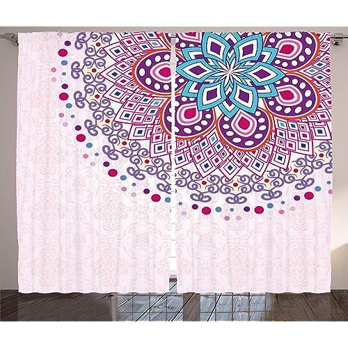 Indian Curtains Asian Mandala Zen Boho Window Drapes 2 Panel Set 108x84 Inches