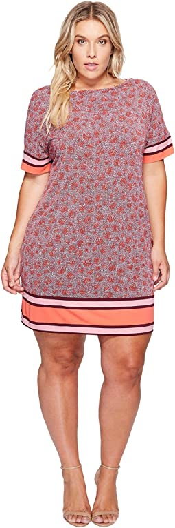 Plus Size Augusta Border Short Sleeve Dress