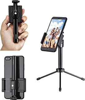 Mini Bluetoooth Selfie Stick, with Patented 360 Degree Rotating Holder and a Detachable Mini Tripod Stand for All iPhone Models and Most Android Cell Phones (Black/Black)