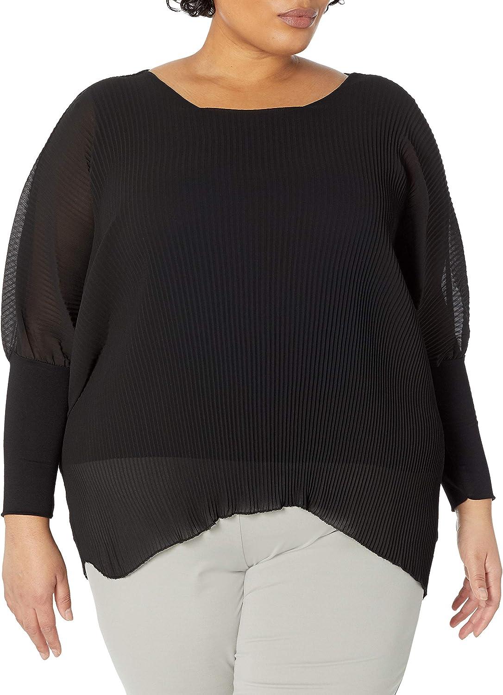 M Made in Italy Women's Asymmetric-Hem Long Blouson Sleeve Tunic