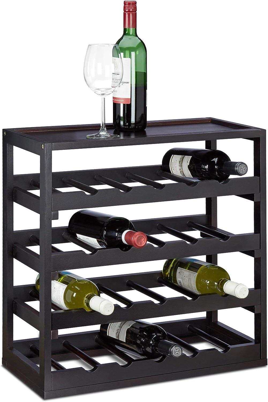 Relaxdays, Negro, 52 x 52 x 25 cm botellero Vino para 20 Botellas, Madera, Nogal