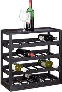 Relaxdays Casier à bouteilles de vin en bois étagère à vin H x l x P: 52 x 52 x 25 cm porte-bouteilles robuste range-boute...