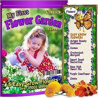 My First Flower Garden - Children's Easy-Grow Flower Seeds - 6 Varieties: Sunflower, Daisy, Sweet Pea, Marigold, Snapdragon, Purple Coneflower. Free Organic Online Grow Guide. Gift
