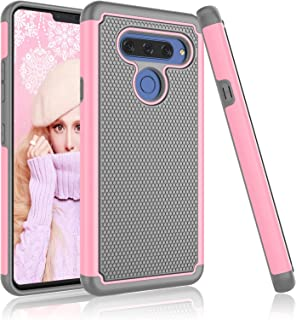 LG V40 ThinQ Case, LG V40 / LG V40 Storm Cute Case, Njjex [Nveins] Impact Drop Protection Hybrid Dual Layers Hard Back + Soft Silicone Armor Defender Shockproof Slim Cover For LG V40 ThinQ [Baby Pink]