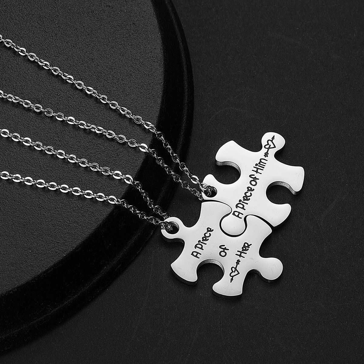 omodofo Valentines Day His and Hers Puzzle Piece Pendant Necklace KeyChain Set Personalized Couples Stamped Chain Keyring