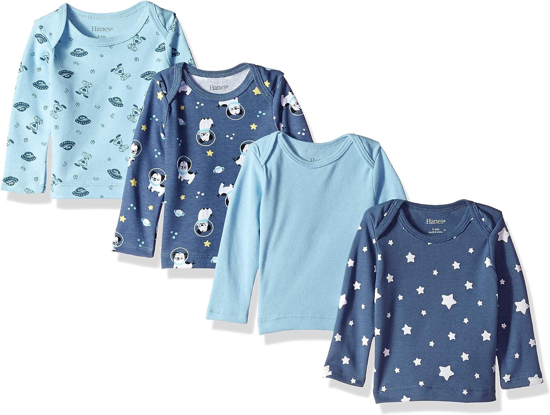 Hanes Girls' Ultimate Baby Flexy 4 Pack Long Sleeve Crew Tees: Clothing