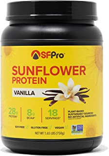 SFPro Sunflower Protein Powder   Plant Based   Vegan   Gluten & Soy-Free   (Vanilla)