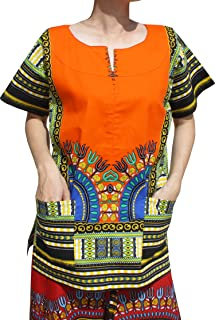 RaanPahMuang Front Split African Dashiki Traditional Cotton Shirt Two Pockets