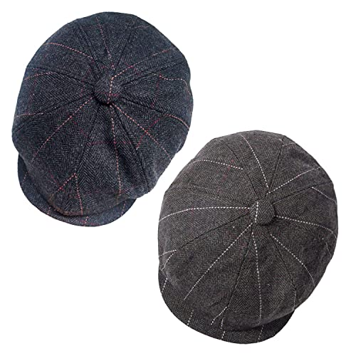 eba9ebf71d950 Senker 2 Pack Men s Classic 8 Panel Wool Blend Applejack Gatsby Newsboy Ivy  Hat