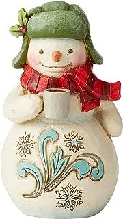 Enesco Jim Shore 6004294, Mini Snowman with Mug Figurine, Resin, 3.54 Inches,Multicolor