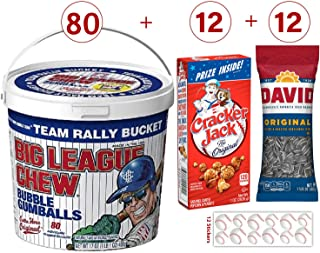 Baseball Snacks - 12 Cracker Jack Boxes (1 oz), 1 Bucket Big League Chew Bubble Gum, 80 Wrapped Pieces, 12 David Sunflower Seeds (1.625 oz). Also Includes 12 Baseball Stickers