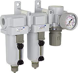 PneumaticPlus SAU430-N04G-MEP Three Stage Air Drying System Particulate Air Filter, Coalescing Filter, Air Pressure Regulator Combo 1/2