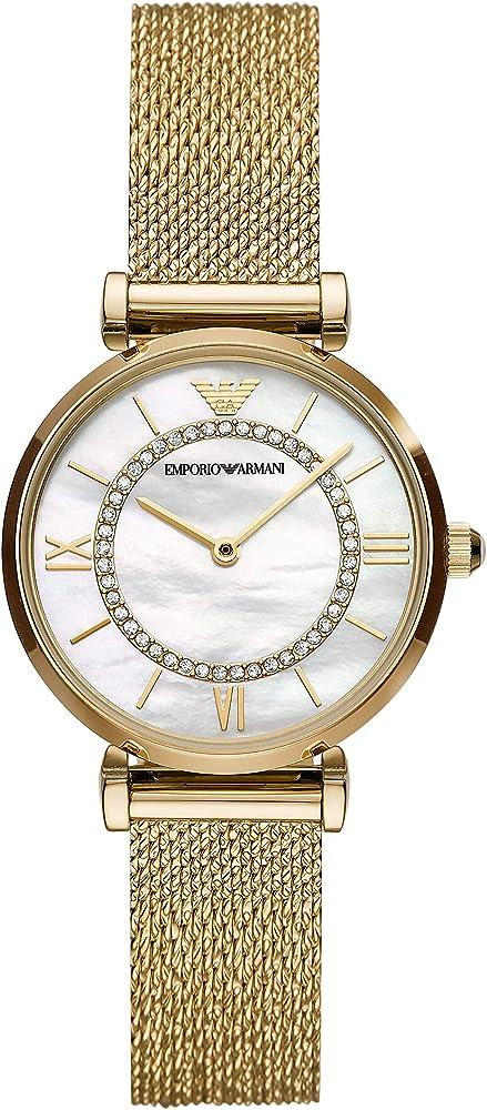 Emporio armani, orologio da donna, in acciaio inossidabile dorato, quadrante in madreperla AR11321