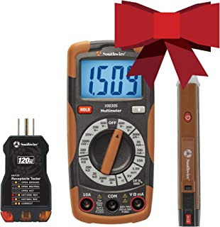 Southwire 10037K Tools & Equipment Electrical Test Kit, Includes 600V Manual-Ranging Multimeter, 120V AC Receptacle Tester and 90-1000V Non-Contact Voltage Tester, Brown