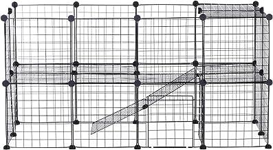 Pawhut Valla Metálica para Mascotas Parque Metálica con 36 Paneles Animales Pequeños Desmontable Diseño DIY Negro 146x73x73cm
