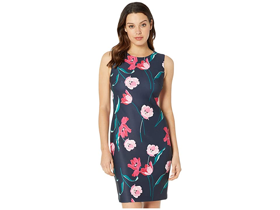 Tommy Hilfiger Tulip Scuba Sheath Dress (Sky Captain Multi) Women