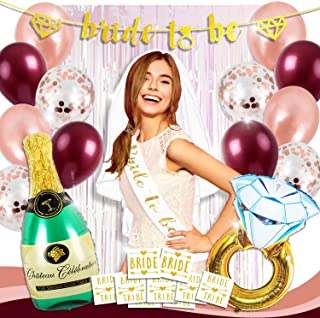 Bachelorette Party Decorations Bridal Shower Supplies Kit   Bride to be Sash + Banner, Fringe Curtain Decor, Veil, Rose Gold Confetti Balloons Set, Champagne Ring Foil Balloon Pack