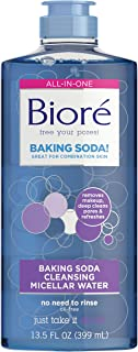 Bioré One Step Baking Soda Cleanser and Makeup Remover with Micellar Water, 13.5 Fluid Ounces, Dermatologist Tested, Oil-Free, Non-Comedogenic, Cruelty Free, Paraben Free, Vegan Friendly