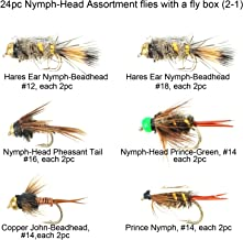 Riverruns Best Assortment 12 Nymph-Head Collection Total 24 Flies with A Mini Fly Box, Prince, Pheasant Tail Flash, Zug Bug, Hares Ear Flash & Natural Adults, Fly Fishing Flies Trout Nymph Flies