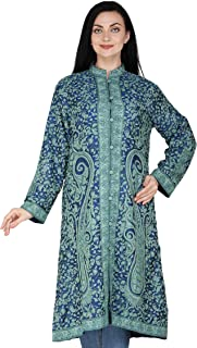 Exotic India Victoria-Blue Kashmiri Long Jacket with All-Over Hand-Embroidered Paisleys